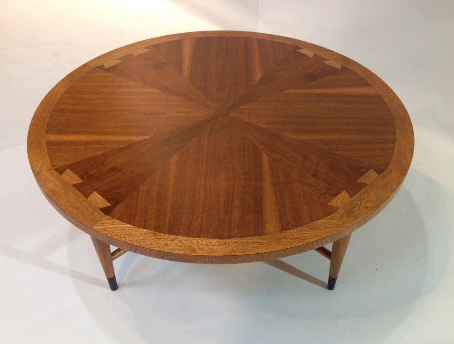 Vintage Coffee Table Mid Century Round Walnut For Lane Acclaim